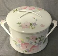 Vintage KOBE Cookware Japan Enamel Ware Dutch Oven with Pastel Dansk Pattern