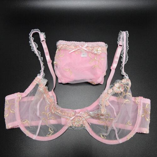 Unpadded Sheer Mesh Bra Set See Through Thin Underwire Bralette and Panties Set