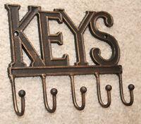 Antique Finnish Cast Iron Key Rack Holder Hook Hat Coat 5 Hooks