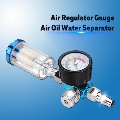 Spray Paint Gun Air Regulator Gauge /& In-line Air Oil Water Separator Filter