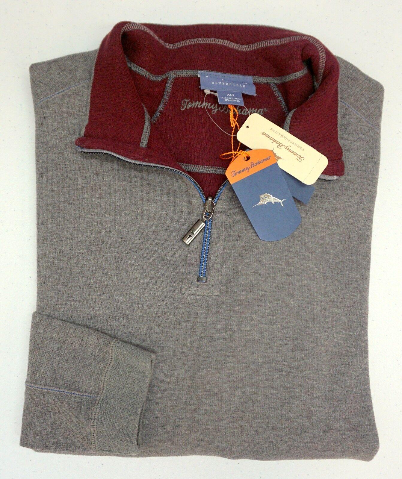 NWT Tommy Bahama 1/4 Zip Reversible Burgandy grau Sweater  Herren 2XB 2XT 3XB XLT