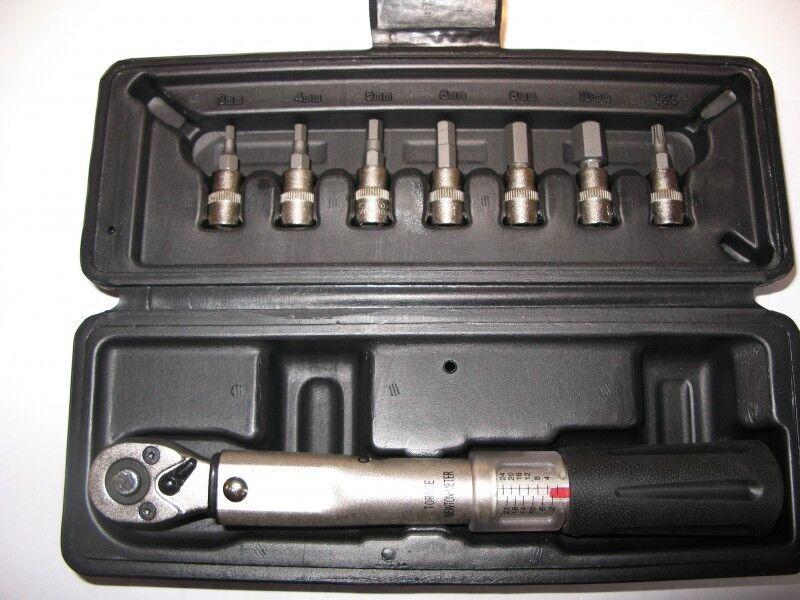 Mighty Drehmomentschlüssel 2-24 Nm für Knarre 1 4'' + Bits, Fahrrad-Werkzeug