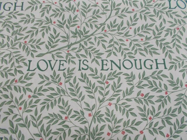 William Morris Curtain Fabric 'LOVE IS ENOUGH' 1.1 METRES 110cm Thyme/Parchment