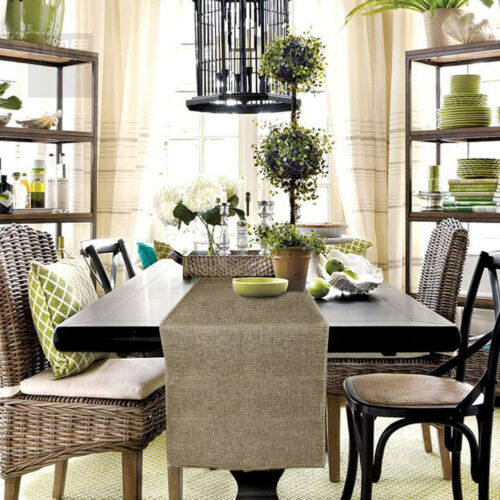 Rustic Jute Burlap Table Runner Imitated Linen Table Cloth Home Wedding Decor U