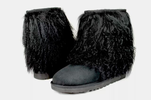 cfb52683127 Womens UGG Australia Mongolian Fur Short Sheepskin Cuff BOOTS Black 6