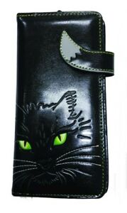 NEW LUCKY CAT BLACK CAT LONG LADIES PURSE WALLET NEMESIS