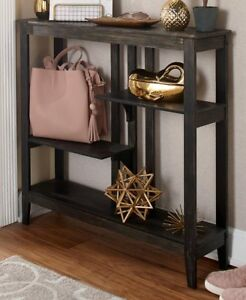 87d0a7da731 Image is loading Brushed-Metallic-Console-Table-with-Display-Shelves- Entryway-