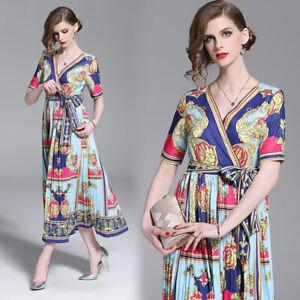 8bb9e091c5d7 2019 Summer Floral Print Bohemia Wrap V Neck Sash Pleated Women Maxi ...