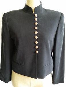 Dana-Buchman-Black-100-Silk-Lined-Career-Blazer-Coat-Jacket-Womens-Size-6