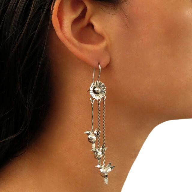 Long Lovebird Dove 925 Sterling Taxco Silver Stick Drop Earrings