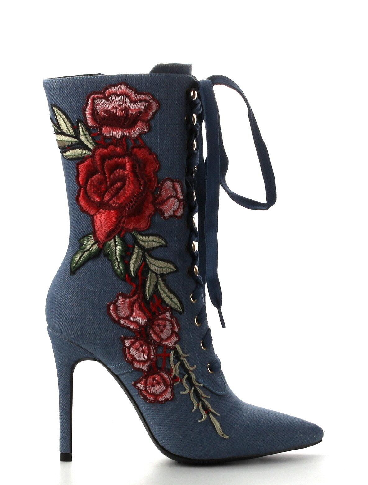 NEU Cape Robbin Mini 108 Blau Denim EmbroideROT Roses Ankle Stiefel 5.5 - 10 US