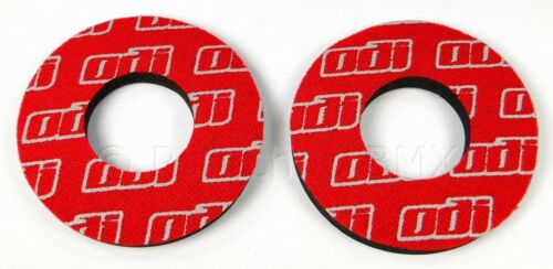 RED *MADE IN USA* PAIR ODI BMX bicycle grip foam padded flange donuts