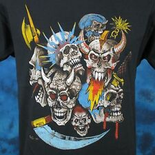 vintage 80s MEDIEVAL SKULL PAPER THIN T-Shirt SMALL fantasy biker skeleton rock