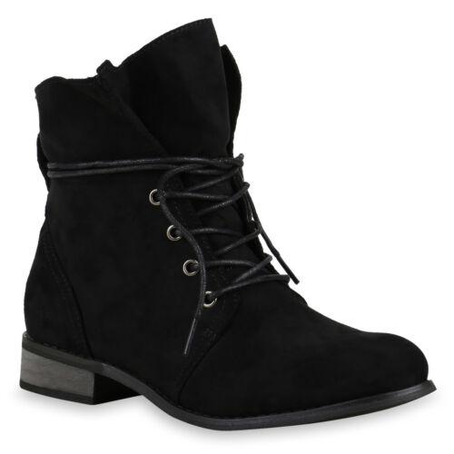 Schnürstiefeletten Damen Velours Leder-Optik Stiefeletten Boots 814013 Schuhe