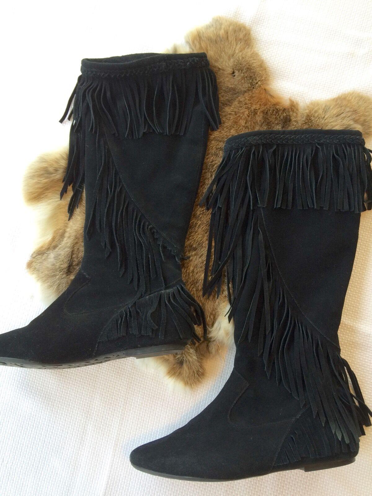 Women's Sam Edelman Black Suede Fringe Knee High Boot Size 7.5