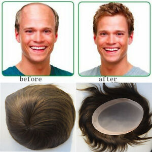 "Mens Toupee Human Hair 7""x9"" Men Hair Systems Replacement ..."