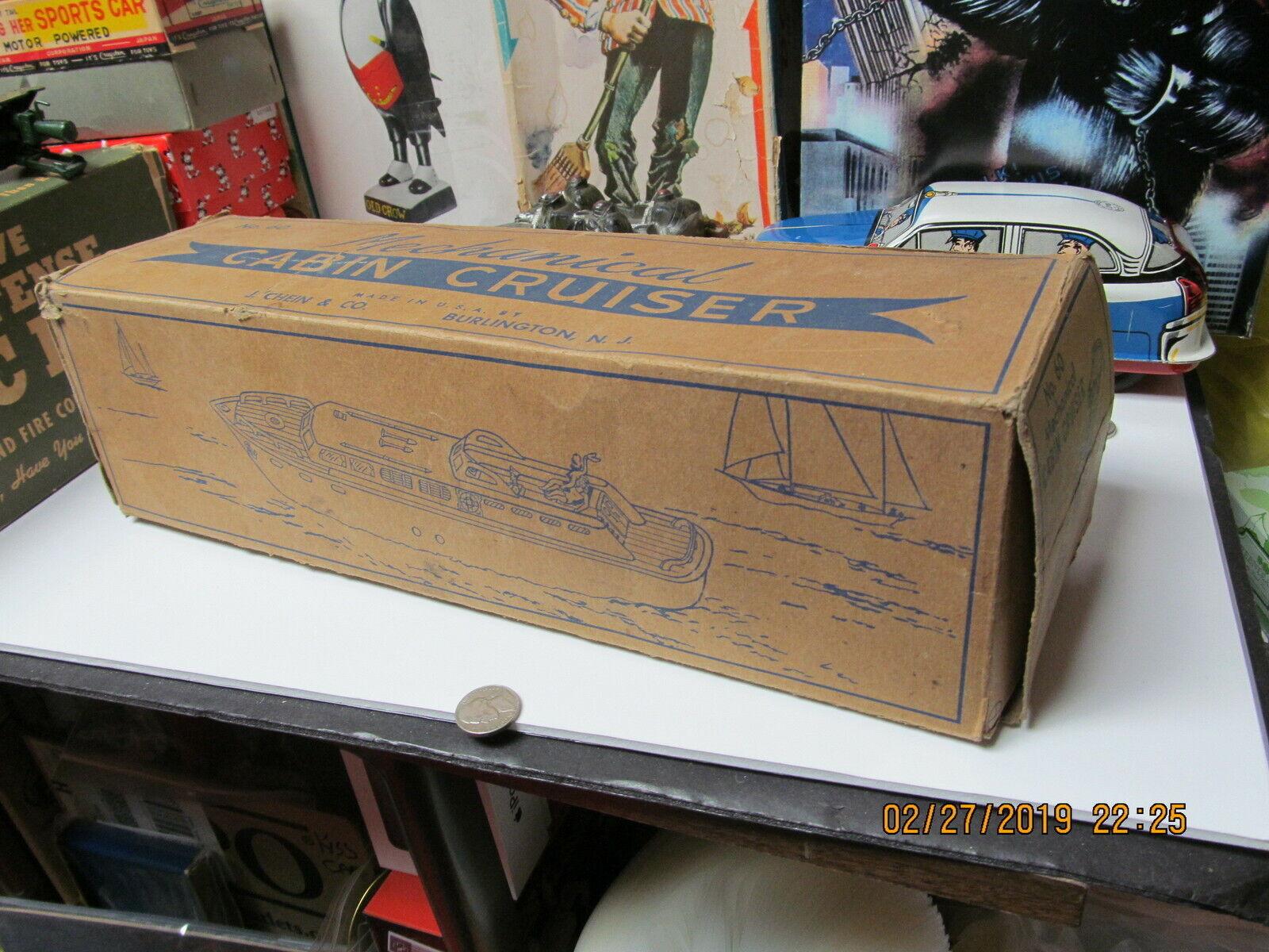 CHEIN PRINCESS PAT WIND UP TIN TIN TIN CABIN CRUISER BOAT IN BOX 15  NEAR MINT 1950'S 289ae0