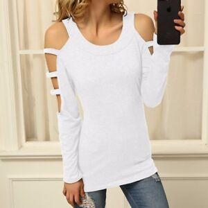 a8a5e60f8495 Women's Cold Shoulder Tops Sexy Cut Out Shirt Slit Long Sleeve ...