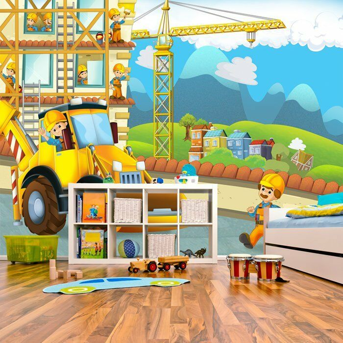 Gelber Bagger Fototapete Bau Tapete Boys Room Nursery Dekor