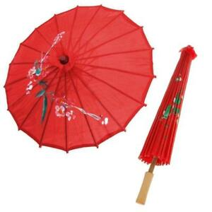 Retro-Vintage-Red-Cloth-Umbrella-Bamboo-Chinese-Oriental-Style-Parasol-Home-Gift
