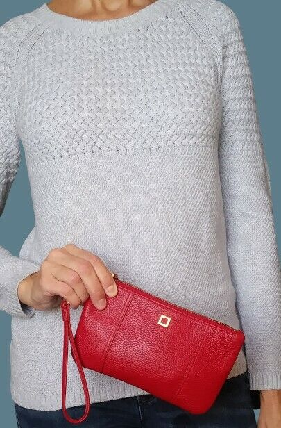 Lodis Womens Olivia Wristlet Wallet Red Pebbled Leather with Phone Pocket