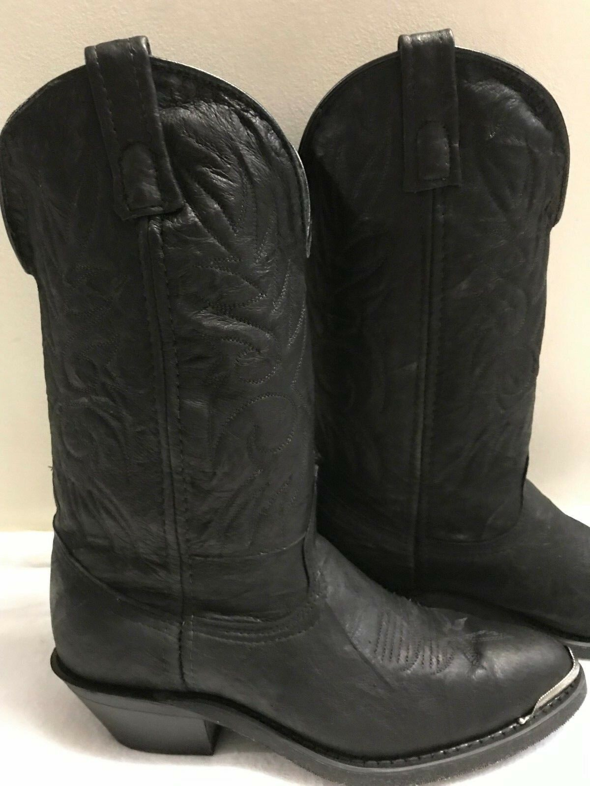 American West Western Women's Cowgirl Boots Black Leather Leather Leather 7 1 2 B New In Box 6c8239