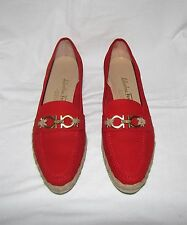 Salvatore Ferragamo Red Nabuck Suede Low Espadrilles Wedge Gancini Loafer 8 AA