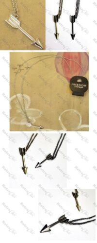 RETRO CUPID/'S ARROW long chain NECKLACE vintage brass GUNMETAL//GOLD//SILVER black