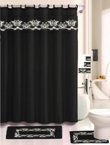 Image Is Loading Barbra Black 18 Pieces Shower Curtain 2 Rugs