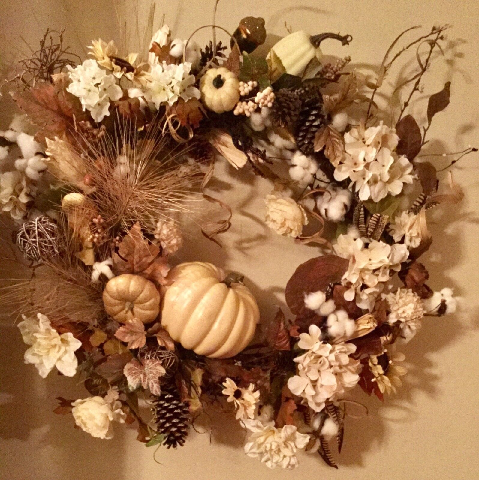 Gorgeous Fall Farmhouse Designer Cream Rustic Fall Wreath