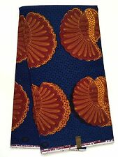African Fabric, Ankara - Blue, Brown, Yellow 'Cowry March,' By the Yard