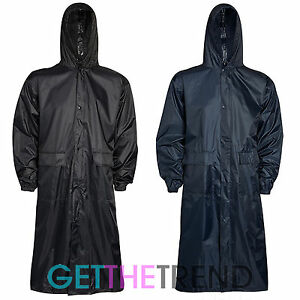 herren damen lang wasserfest trenchcoat cagoule regenmantel kagool kag mac jacke ebay. Black Bedroom Furniture Sets. Home Design Ideas