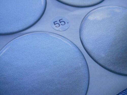 4x ARGENTO emblemi COPRIMOZZO PER CERCHIONI COPERCHIO 55mm in Silicone Adesivo 3d 1322