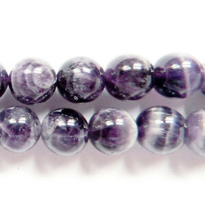 Purple/Grey Chevron Amethyst Beads Plain Round 6mm Strand Of 62+