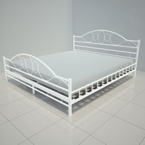 White Metal Bed Frame Super King Size 6 Ft Modern Iron Bedstead
