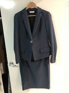Versace-Womens-Navy-Business-Suit-Skirt-amp-Jacket-Sz-42-M-RRP-1145-As-New