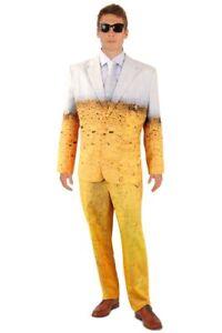 Lustiger Bier Anzug mit Krawatte Herren Kostüm Sakko Jackett Hose Karneval Party