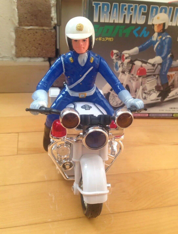 Traffic policeman Motorcycle vintage japan toy Siren sound 1980's unused