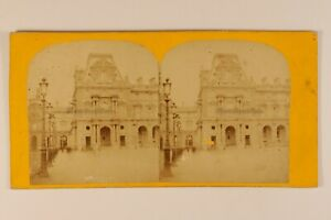 Parigi-Il-Louvre-Francia-Foto-Stereo-c1870-Albumina-Vintage