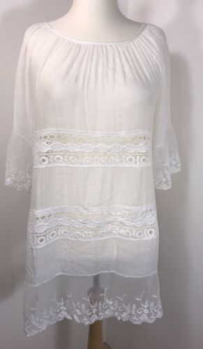 NEW Beach Dress White Tunic Lace Beach Cover Up Soft Cool Floaty Fits 16 18 20