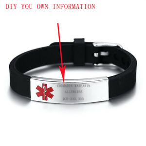 Customized-Men-Women-Medical-Alert-ID-Aid-Silicone-Bracelet-Gift-Stainless-Steel