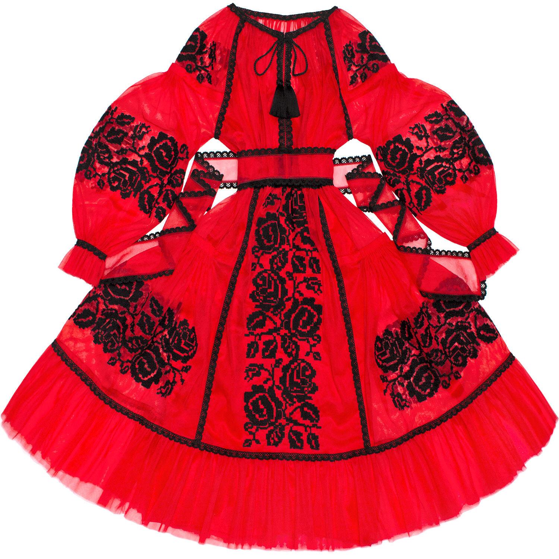 Embroidered red dress boho - ukrainian ethnic vyshyvanka  pink Dreams .All sizes