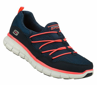 11793 Skechers Memory Foam SYNERGY- LOVING LIFE Women's Shoes Navy/Coral NVCL