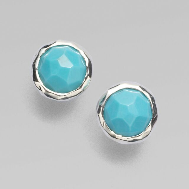 Ippolita Rock Candy Round Turquoise Stud Earrings In Sterling Silver