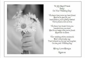 to my best friend on her wedding day unique personalised poem gift