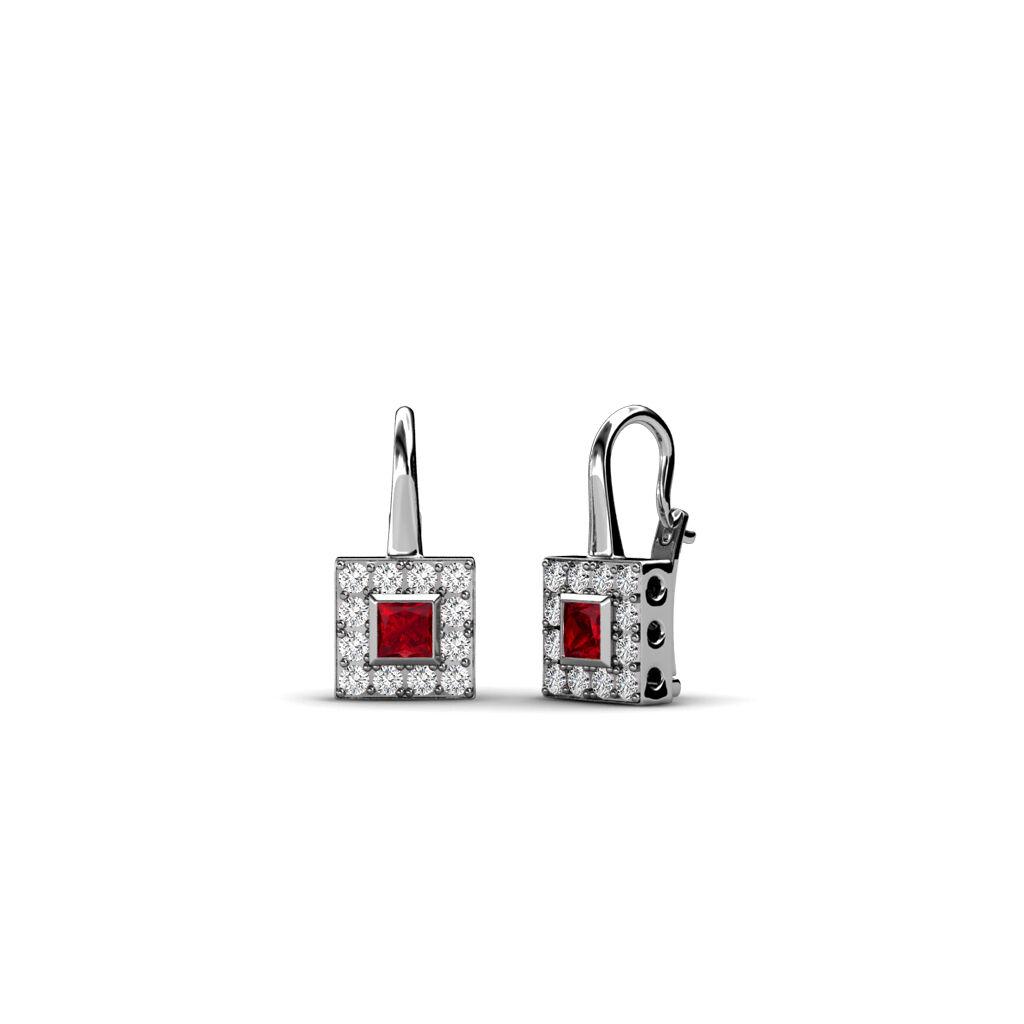 Red Garnet & Diamond Square Dangling Earrings 0.46 Carat tw in 14K gold JP 34016