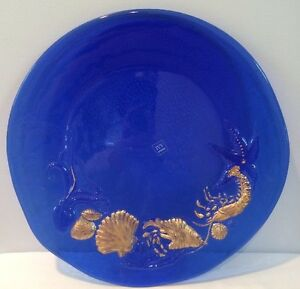 Cobalt-Blue-amp-Gold-12-1-2-034-Platter-Sea-Life-Art-Glass-Made-in-Italy-w-Sticker