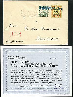 93/Kamerun 1913 Brief Einschreiben Soufflay Gr. Gummistempel Befund BPP RAR
