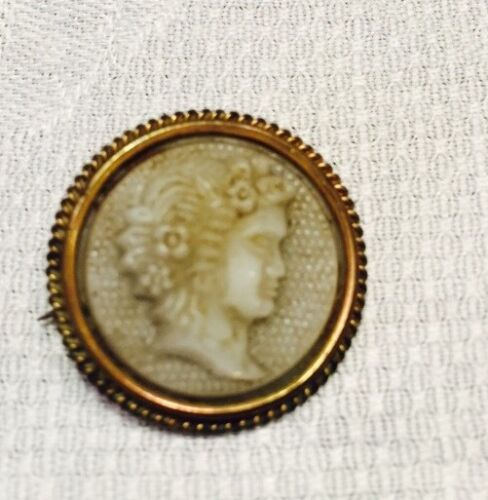 """Antique Cameo Molded Glass On Brass Frame Round 1"""""""