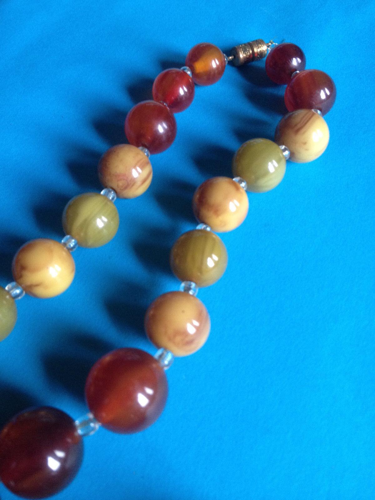 Vintage Long Collier Bakélite Perles Trio de Colores     Bakelite Necklace 8f5475